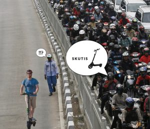 Electric scooter Jakarta Beat the traffic jam